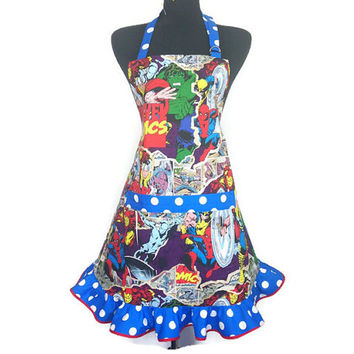 Beau Marvel Super Hero Apron For Women Comic Book Kitchen Decor , Iro