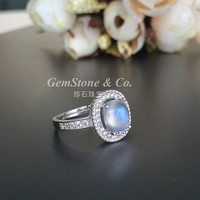 Super Nice!Natural Beautiful Blue Sheen Moonstone Silver Ring Engagement Ring 8*6mm Oval Moonstone Cabochon Ring