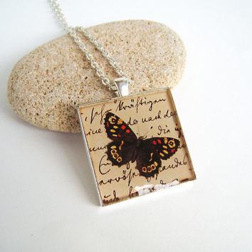 Retro butterfly print necklace, vintage engraving handwriting, large square silver statement pendant art nouveaux romantic nature jewelry