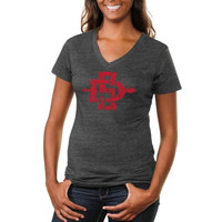 San Diego State Aztecs Ladies Distressed Secondary Tri-Blend V-Neck T-Shirt - Charcoal