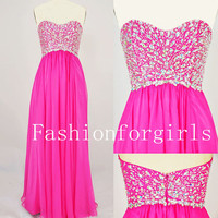 2013 style Strapless Sweetheart with Beading Chiffon Long Pink Prom Dresses