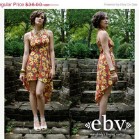 ON SALE Vintage 90's Red & Yellow Floral High Low Fishtail Mullet Tuxedo Sun Dress XS S