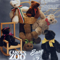 McCall's Crafts Pattern 6907 Carol's Zoo Bear Rabbit Lamb Dolls from 1993