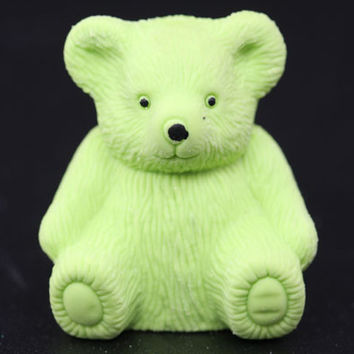 Green Teddy Bear Eraser and Sharpener