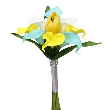 "9"" Bouquet - Yellow, Aqua Blue, and White Real Touch Calla Lily and Tulip Artificial Bouquet"
