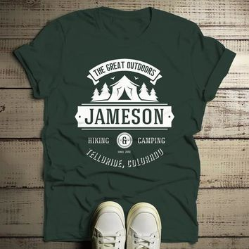 Men's Personalized Camping T Shirt Tent Great Outdoors Shirt Custom Graphic Tee Hiking Camper