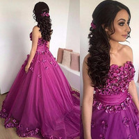 Sweetheart Off The Shoulder Ball Gown Tulle Purple Flower Prom Dress Sweep Train Robe De Soiree Luxury long Puffy Prom Gowns