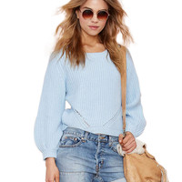 Long Sleeve  Round Neck Ribbed Knitted Sweater