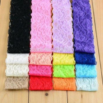 ONETOW girl Headbands New 2015 Lace Wide Hair Band Hollow Out Flowers Headband Kids Head Hair Accessories 60pcs/lot HD05