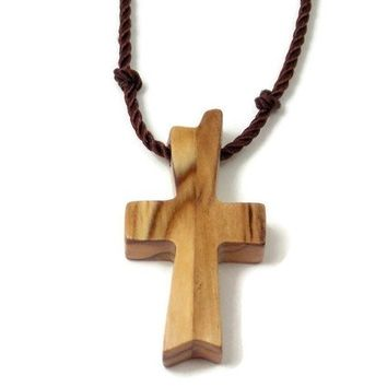 Olive Wood Cross Necklace for Men, Certified Bethlehem Holy Land Cross Pendant with Hand Knotted Black Nylon Cord, Mens Cross Necklace