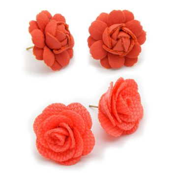 Roses Earring Set in Coral