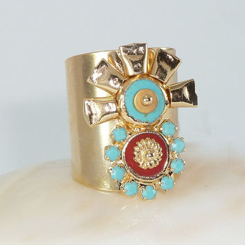 Gold Turquoise Ring, Gemstones Ring, Statement Turquoise & Coral Ring, Tribal Aztec Jewelry, 24K Gold Adjustable Wide Band Ring.