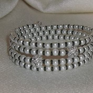 Wedding White Glass Pearl & Preciosa Black Seed Bead w/ 2 Crystal Focal Bead Artisan Crafted Wrap Bracelet (sz M-L)