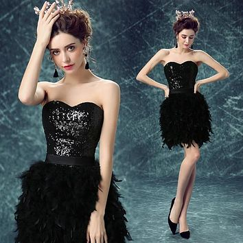 Special Offer~Noble Sequins Strapless Sweetheart Skinny Feather Black Cocktail Dress/Party Dress AH1006