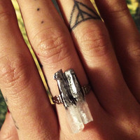 Raw silver dipped crystal quartz points boho silver adjustable ring