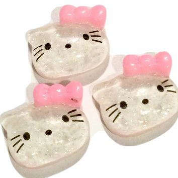 Glitter kitty face w/ light pink bow resin cabochon 13x15mm / 1-5 pieces