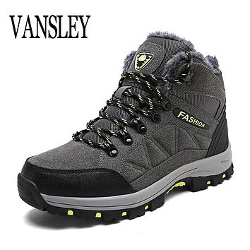 Designer Winter Fur Snow Men Boots Autumn Non-slip Rubber Sole Men Black Ankle Boots Tactical Waterproof Men Shoes Footwear