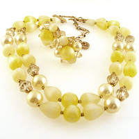 Lisner Yellow Beaded Necklace and Clip On Cluster Earring Set Demi Parure Double Strand Choker