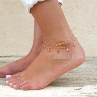 Gift Cute Ladies Sexy New Arrival Shiny Jewelry Stylish Metal Double-layered Chain Anklet [6768790983]