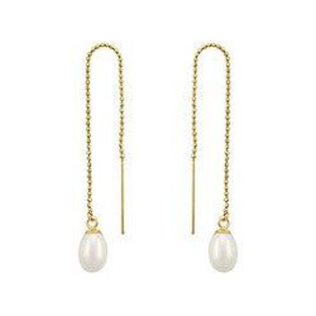 Freshwater Cultured Pearl Thread Earrings : 14K Yellow Gold