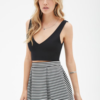 Striped Box-Pleated Skirt