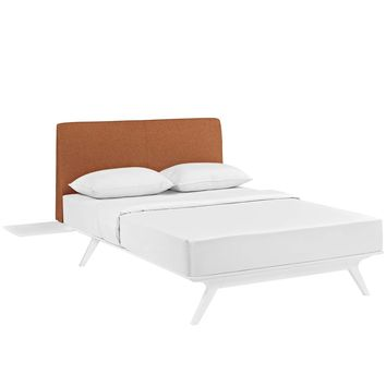 Tracy 3 Piece King Bedroom Set in White Orange