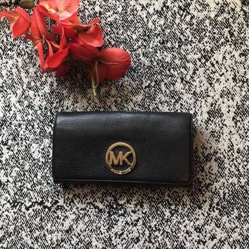 CREYON8Y MICHAEL KORS FULTON CONTINENTAL CARRYALL PEBBLED LEATHER WALLET MSRP 148