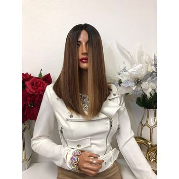 "Blonde Balayage Black Ombre Long Bob Short Hair Lace Front Wig 10"" Staci 1218 44*********"