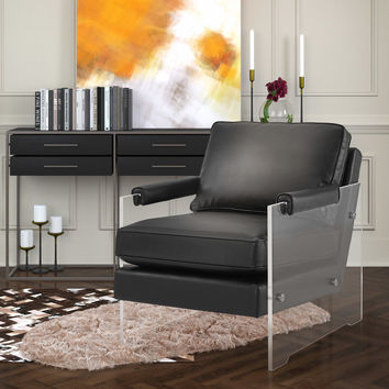 TOV Furniture Serena Black Eco Leather/Lucite Chair