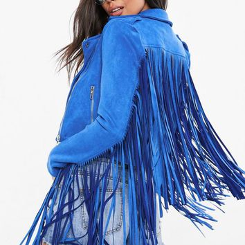 Missguided - Blue Faux Fringe Biker Jacket