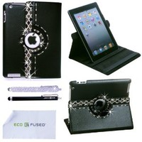 ECO-FUSED Bling 360 Rotating iPad 3 Leather Case with Sparkling Rhinstone Details / One Silver Stylus /One Black Stylus - Microfiber Cleaning Cloth 5.5x3.0-Inch included -Silver Black White Rhinestones