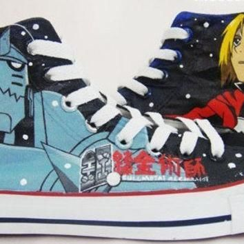 anime fullmetal alchemist hand painted shoes paint on custom converse shoes with fullm
