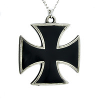 Black Iron Cross Necklace Punk Rock Metal Skull Baron