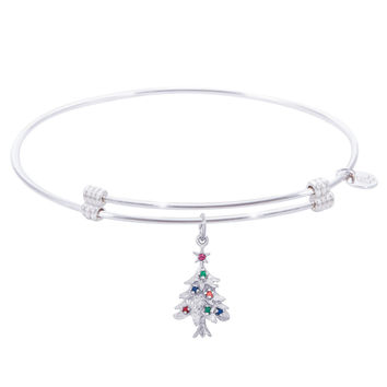 Sterling Silver Alluring Bangle Bracelet With Christmas Tree Charm