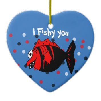 Funny and cute black and red fantasy fish ceramic heart ornament