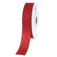 Glitter Ribbon Christmas Giftwrapping, 7/8-inch, 25-yard, Red