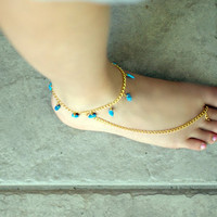 Anklet & Toe Ring with Turquoise Beads by NativeLivingJewelry
