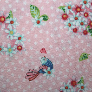 Birds, Hearts, Flowers, Sewing, Cotton Fabric, Quilting, Quilting Fabric, Sewing Fabric, Fabric, Red Rooster Fabrics, Rainbow Woodland