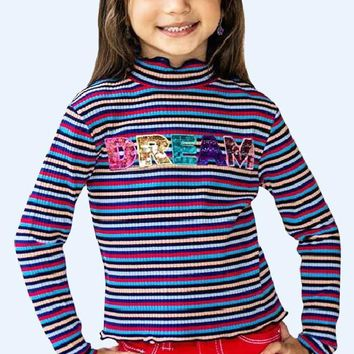 Fall Back To School Girls Sleeve Fashion Tops  w/Sequins DREAM Reflect