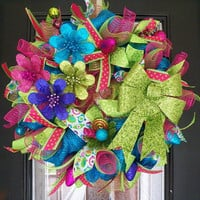Whimsical Christmas Wreath, Christmas Decoration, Christmas Door Hanger