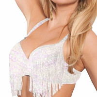White Fringed Rave Bra