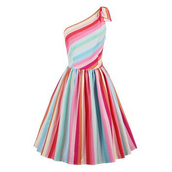 Vintage Dress Stripe Rainbow Patchwork Pullover Dress Retro Sleeveless Summer Female Elegant Beauty Vintage Dresses