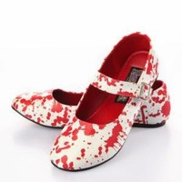 Funtasma by Pleaser Bloody Flats - White/Blood Red - Punk.com