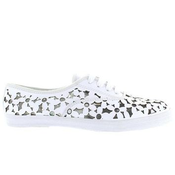 Jeffrey Campbell Peg Daisy   White Leather Floral Laser Cut Sneaker