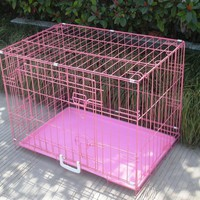 """New Pink 30"""" 2 Door Pet Cage Folding Dog Cat Crate Cage Kennel w/ABS Tray"""