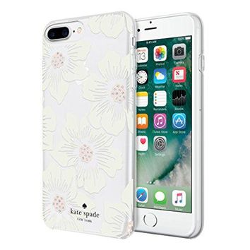 kate spade new york Protective Hardshell Case for iPhone 8 Plus, iPhone 7 Plus, iPhone 6s Plus & iPhone 6 Plus - Hollyhock Floral Clear/Cream with Stones