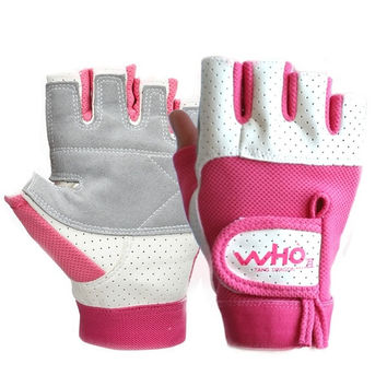 Ladies High quality Fitness gloves, breathable fingerless leather gloves for cycling Gym Exercise Training, pink, M = 1958007492