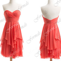 Strapless Sweetheart Chiffon Short Cocktail Dresses, Short Prom Dresses, Wedding Party Dresses, Bridesmaid Dresses