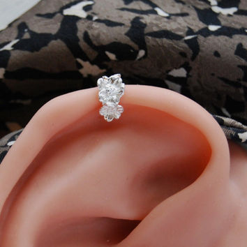 Flower Ear Cuff Cartilage or lobe pierced sterling 20ga