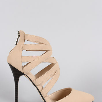 Anne Michelle Nexus Cage Pointy Toe Nubuck Pump